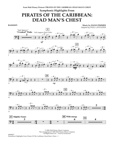Soundtrack Highlights from Pirates Of The Caribbean: Dead Man's Chest - Bassoon