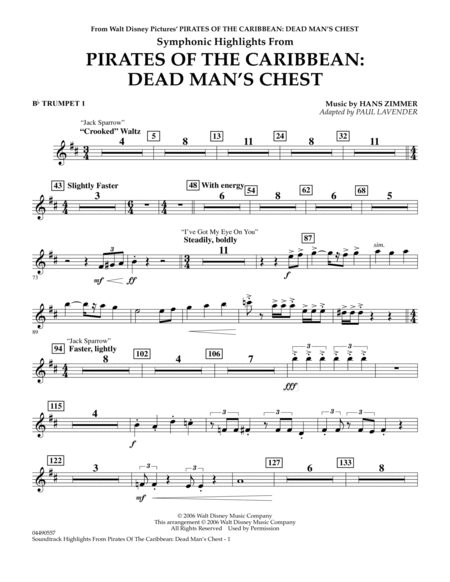 Soundtrack Highlights from Pirates Of The Caribbean: Dead Man's Chest - Bb Trumpet 1