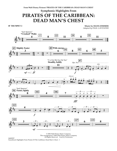 Soundtrack Highlights from Pirates Of The Caribbean: Dead Man's Chest - Bb Trumpet 2