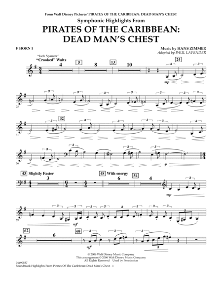 Soundtrack Highlights from Pirates Of The Caribbean: Dead Man's Chest - F Horn 1