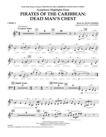 Soundtrack Highlights from Pirates Of The Caribbean: Dead Man's Chest - F Horn 2