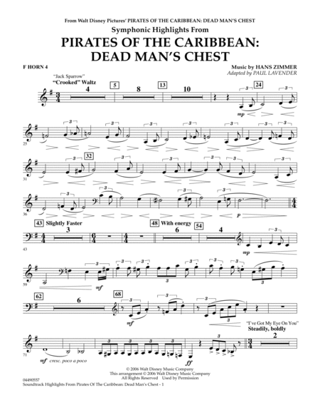 Soundtrack Highlights from Pirates Of The Caribbean: Dead Man's Chest - F Horn 4