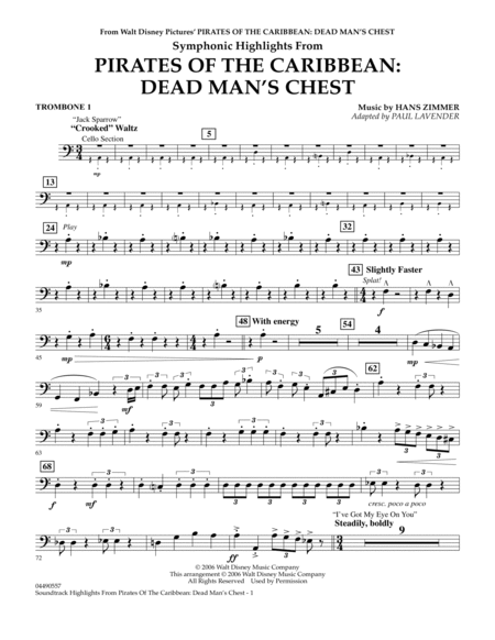 Soundtrack Highlights from Pirates Of The Caribbean: Dead Man's Chest - Trombone 1