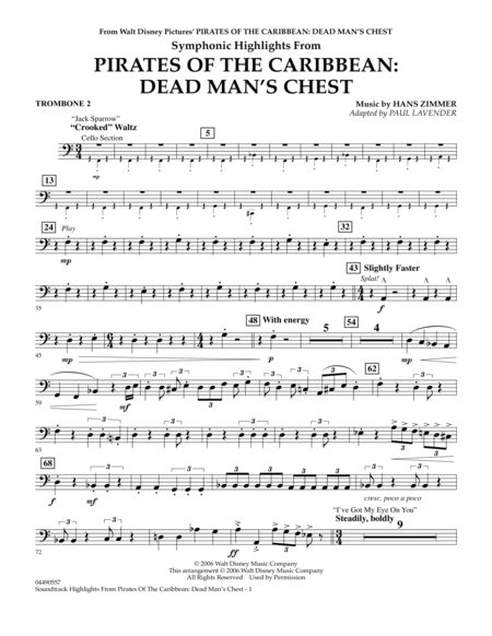 Soundtrack Highlights from Pirates Of The Caribbean: Dead Man's Chest - Trombone 2
