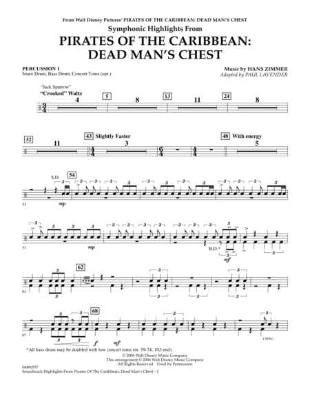 Soundtrack Highlights from Pirates Of The Caribbean: Dead Man's Chest - Percussion 1
