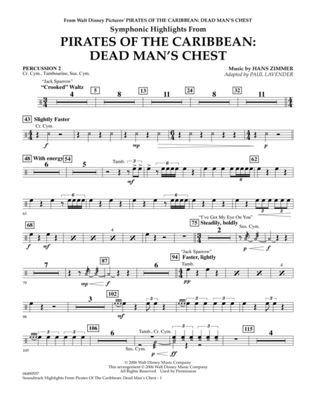 Soundtrack Highlights from Pirates Of The Caribbean: Dead Man's Chest - Percussion 2
