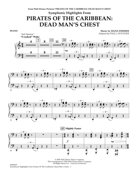 Soundtrack Highlights from Pirates Of The Caribbean: Dead Man's Chest - Piano