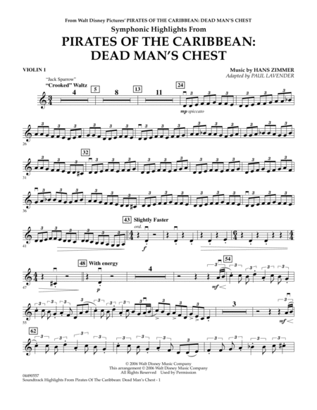 Soundtrack Highlights from Pirates Of The Caribbean: Dead Man's Chest - Violin 1