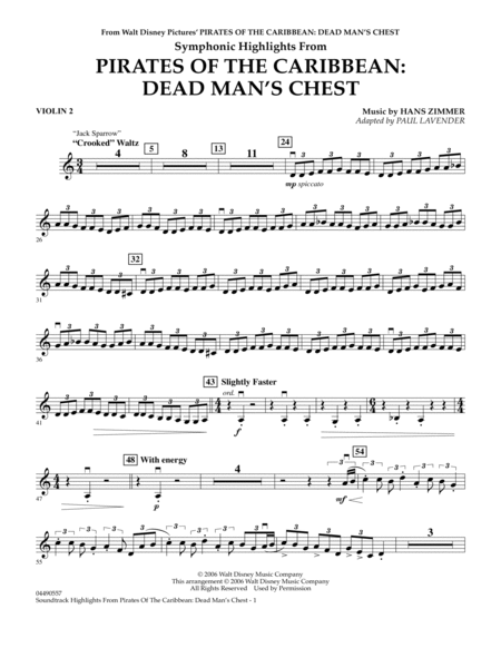 Soundtrack Highlights from Pirates Of The Caribbean: Dead Man's Chest - Violin 2