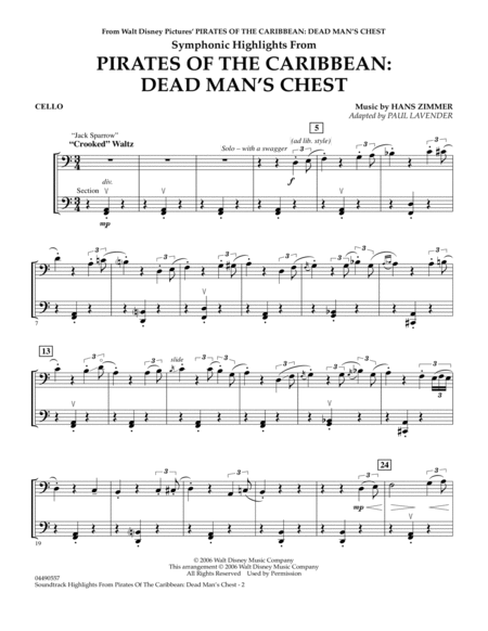Soundtrack Highlights from Pirates Of The Caribbean: Dead Man's Chest - Cello