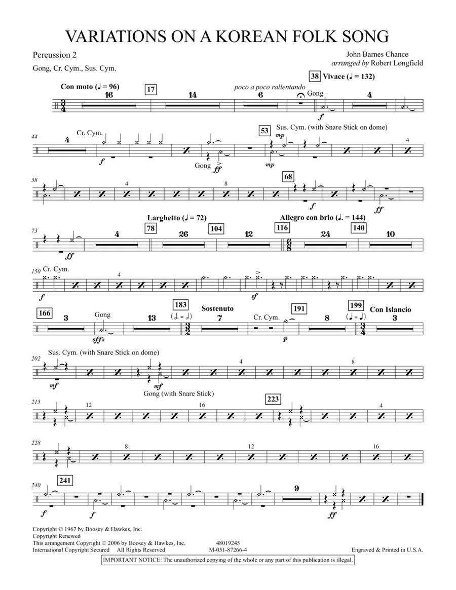 Variations on A Korean Folk Song - Percussion 2