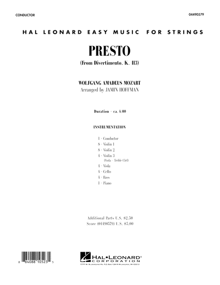 Presto (from Divertimento, K.113) - Full Score