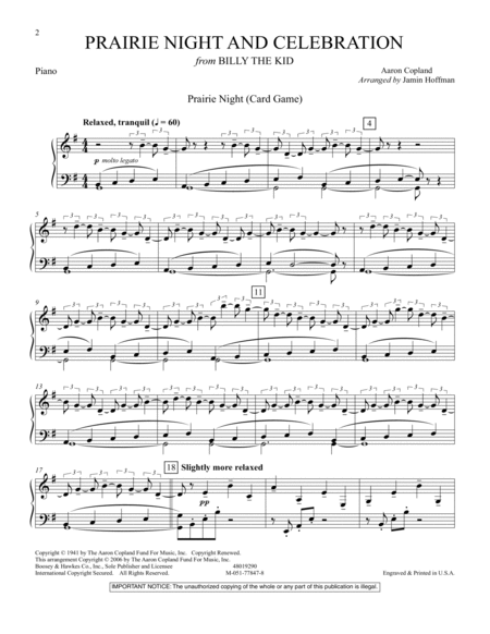 Prairie Night And Celebration (from Billy The Kid) - Piano
