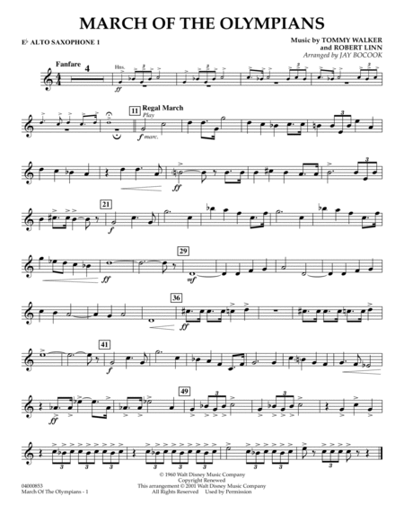 March Of The Olympians - Eb Alto Saxophone 1