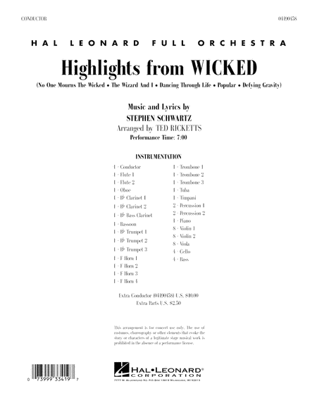 Highlights from Wicked - Full Score