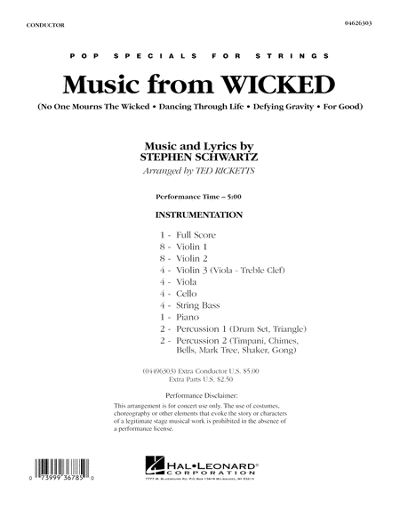 Music from Wicked - Full Score