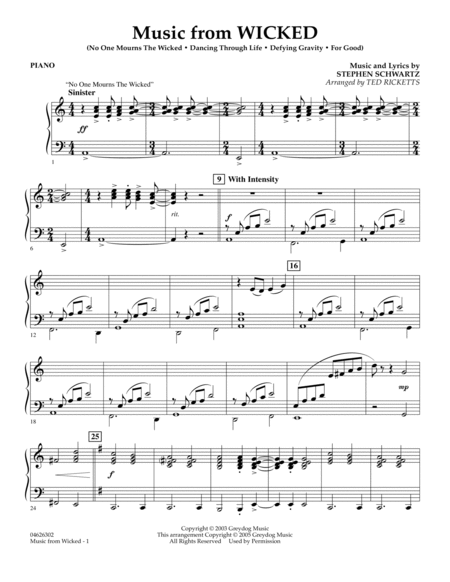 Music from Wicked - Piano