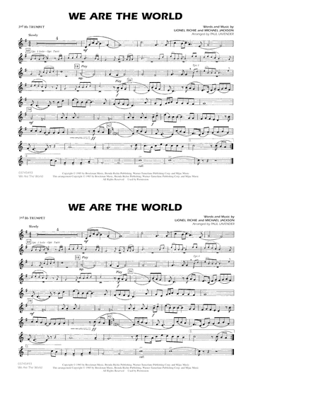 We Are The World - 3rd Bb Trumpet