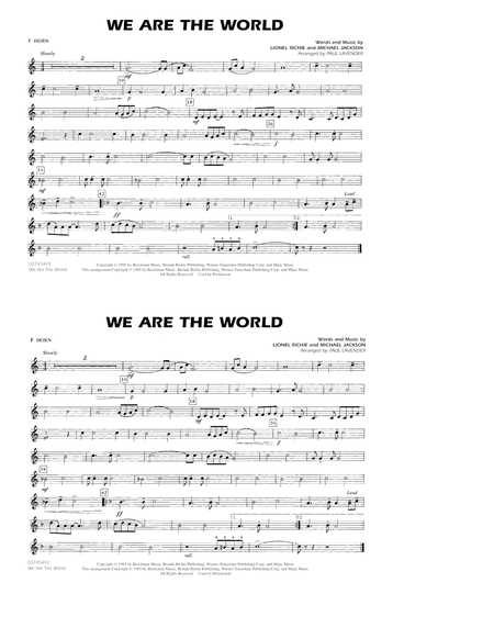 We Are The World - F Horn