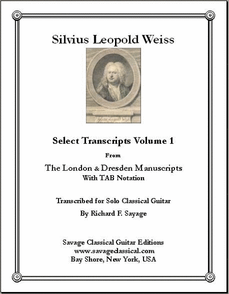Select Transcripts Volume 1 for the Solo Classical Guitarist with Additional TAB Stave