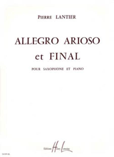 Allegro, Arioso Et Final