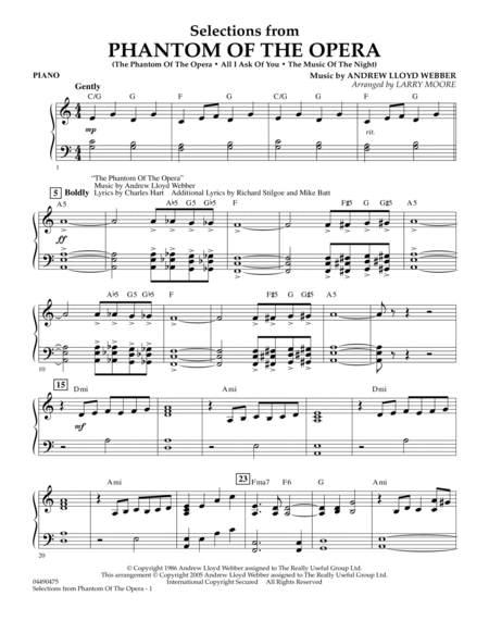 Selections from Phantom Of The Opera - Piano