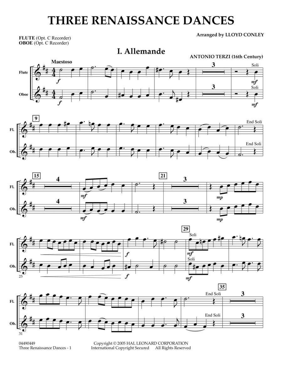 Three Renaissance Dances - Flute/Oboe