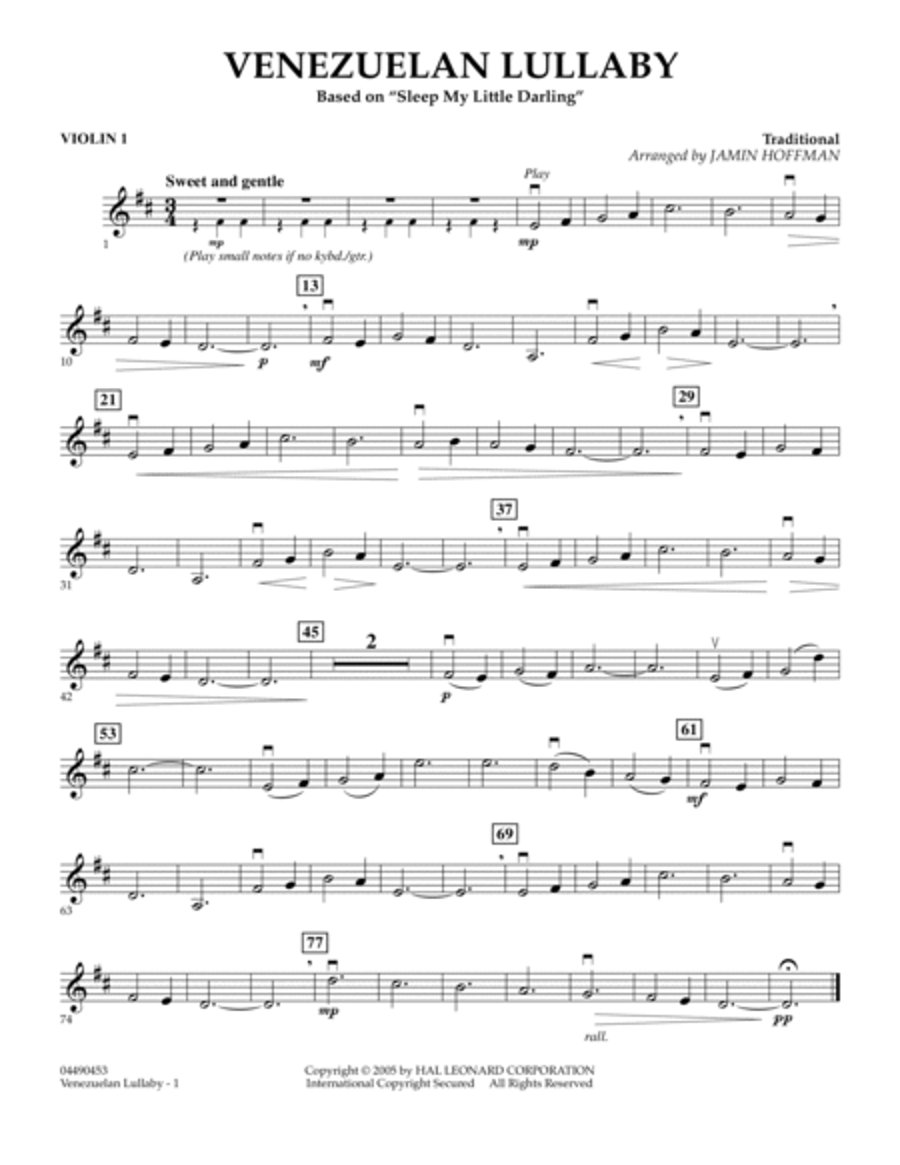 Venezuelan Lullaby - Violin 1