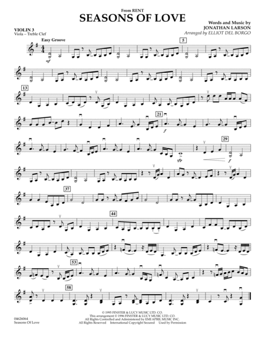 Seasons Of Love - Violin 3 (Viola T.C.)