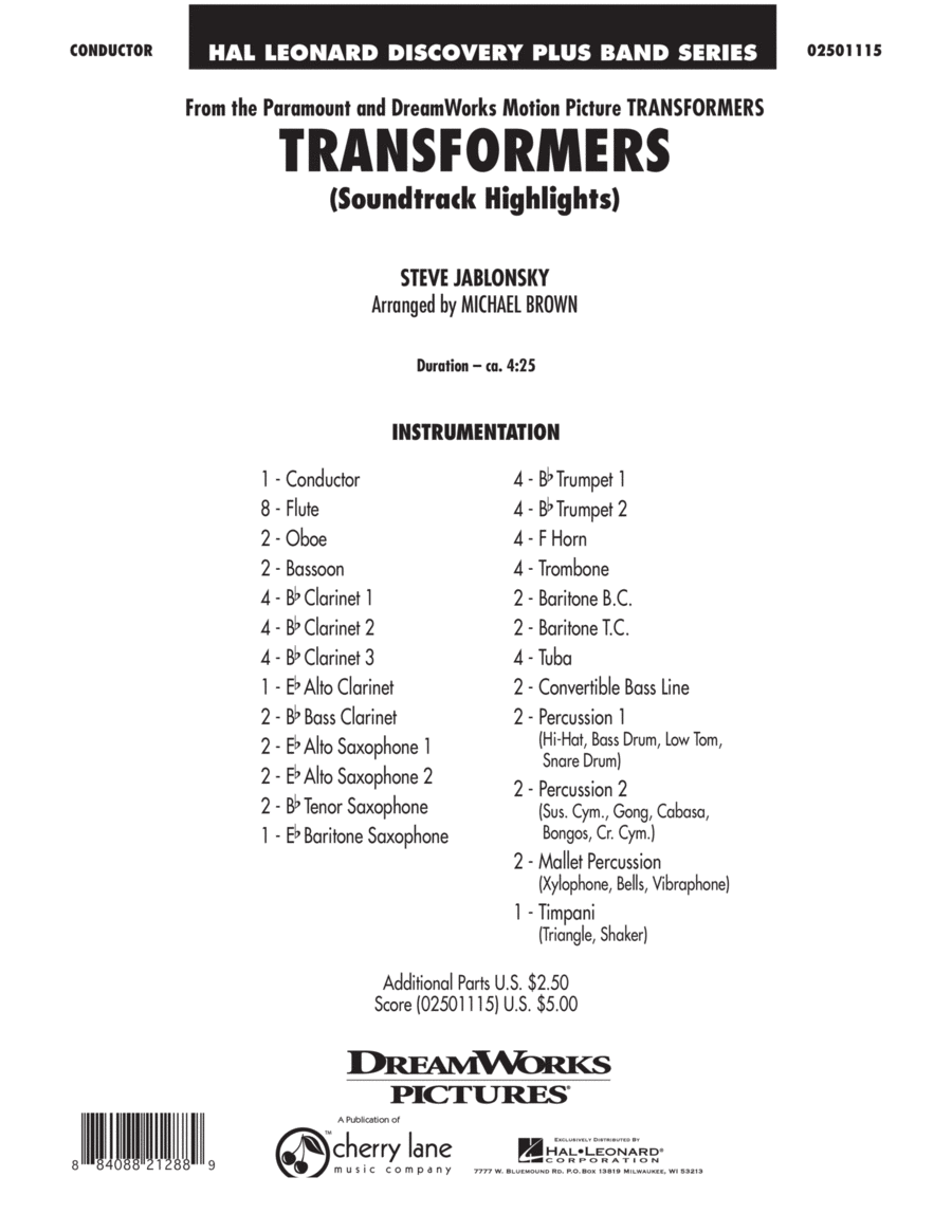 Transformers Soundtrack Highlights - Full Score