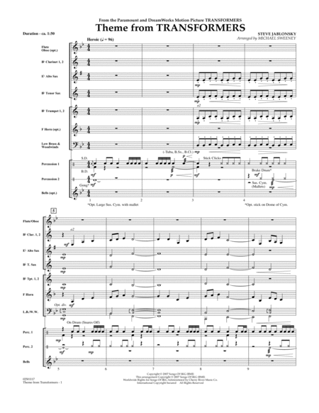 Theme From Transformers - Full Score