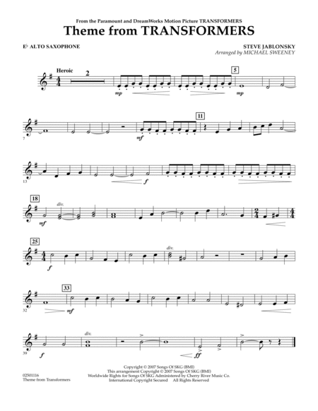 Theme From Transformers - Eb Alto Saxophone