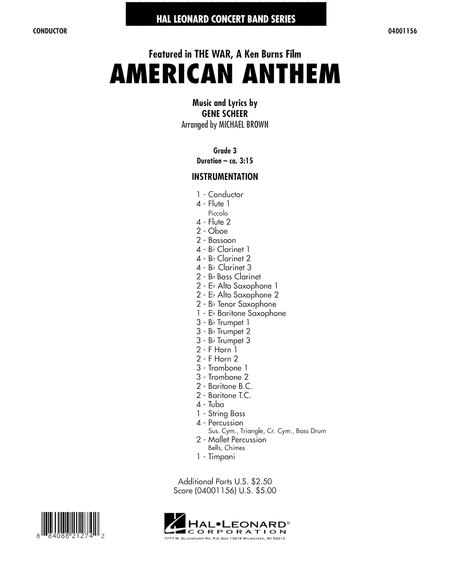 American Anthem (from The War) - Full Score