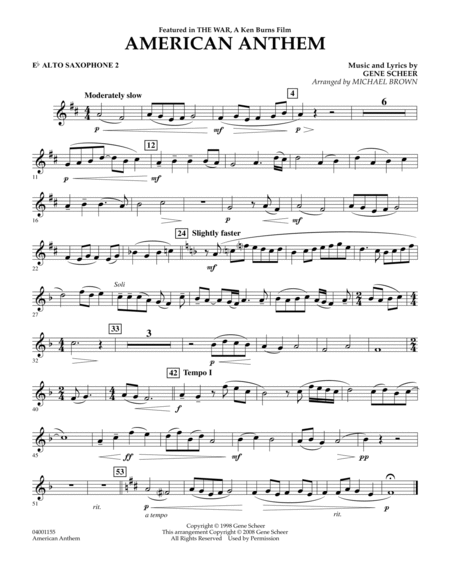American Anthem (from The War) - Eb Alto Saxophone 2