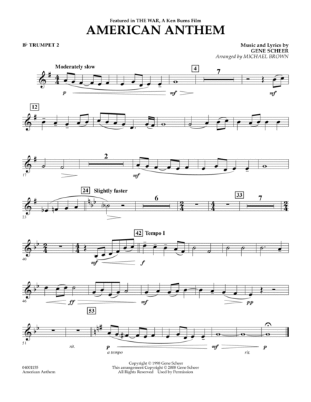 American Anthem (from The War) - Bb Trumpet 2