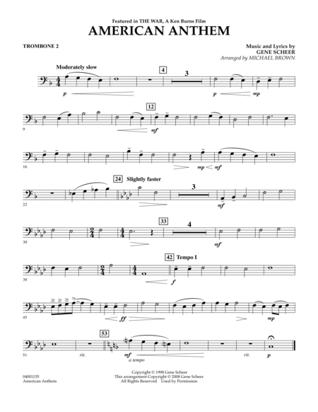 American Anthem (from The War) - Trombone 2