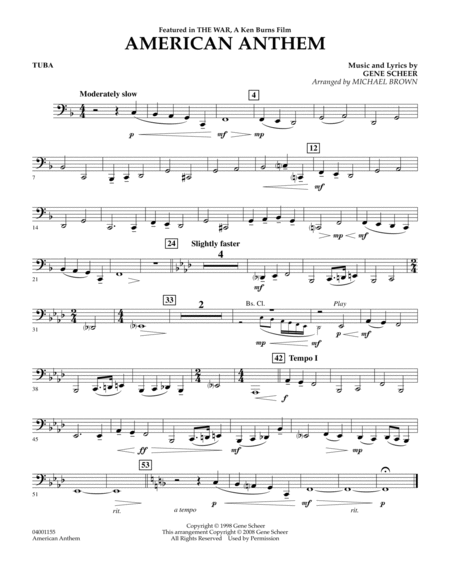 American Anthem (from The War) - Tuba
