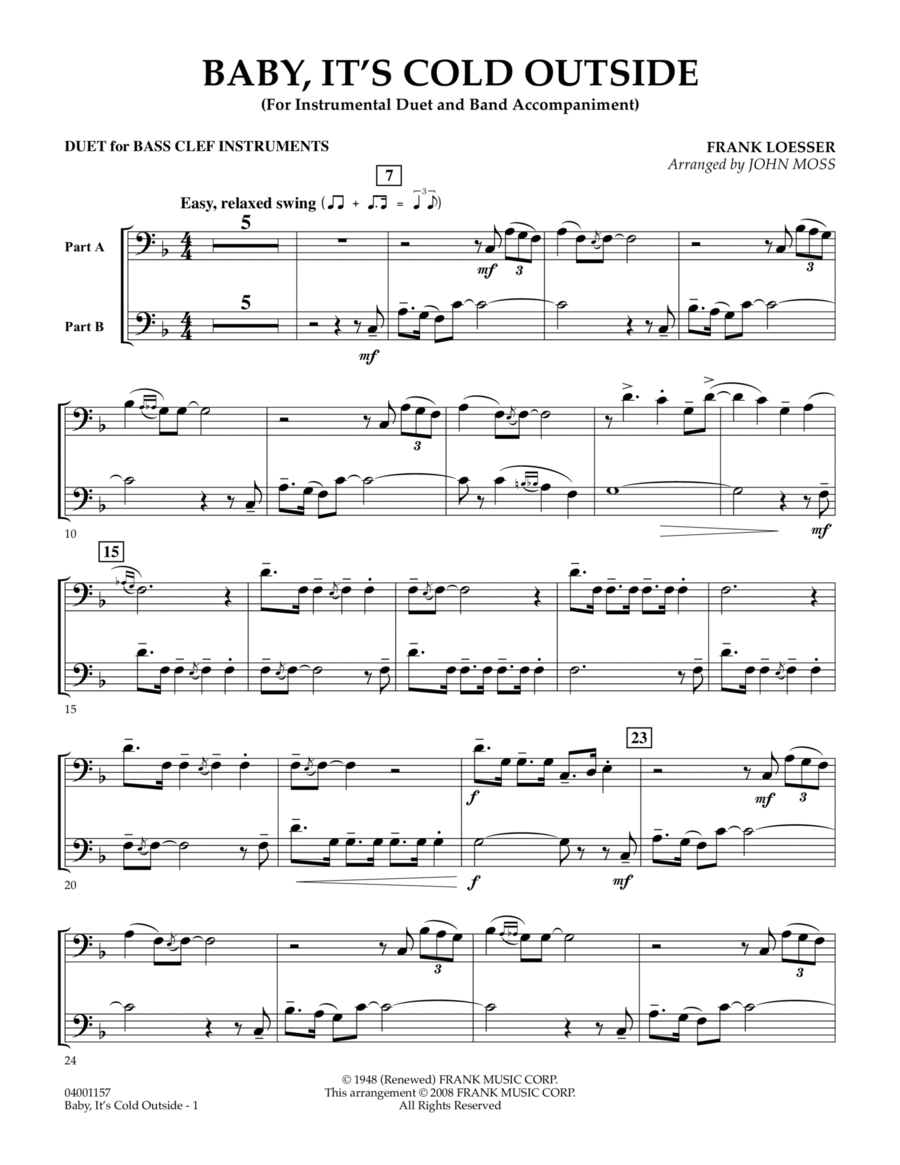 Baby, It's Cold Outside - Duet in Bass Clef