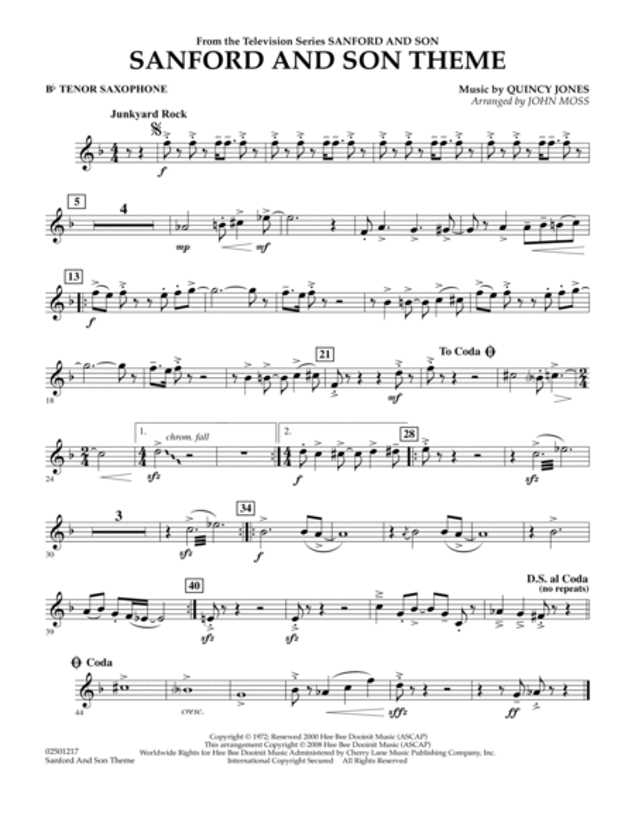Sanford And Son Theme - Bb Tenor Saxophone