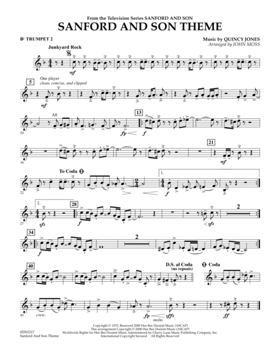 Sanford And Son Theme - Bb Trumpet 2