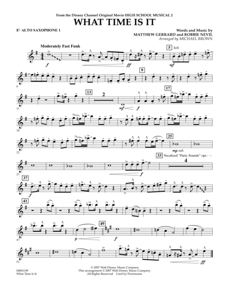 What Time Is It (from High School Musical 2) - Eb Alto Saxophone 1
