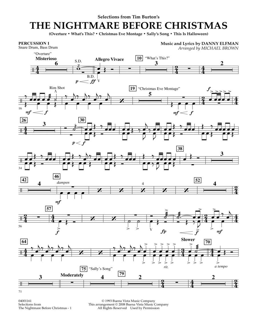 Selections from The Nightmare Before Christmas - Percussion 1