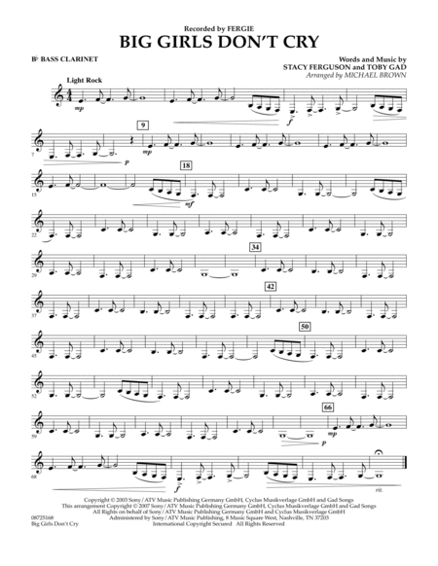 Big Girls Don't Cry - Bb Bass Clarinet
