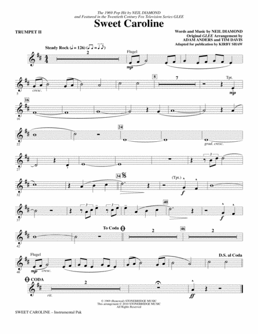 Sweet Caroline - Trumpet 2