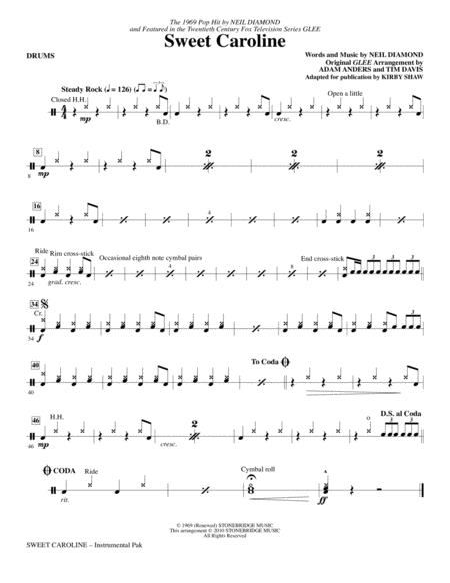 Sweet Caroline - Drums
