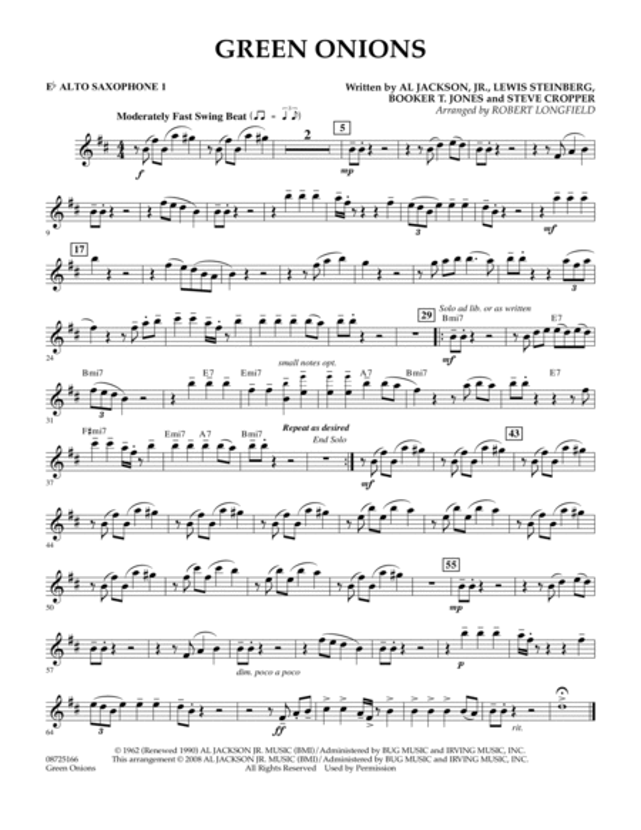 Green Onions - Eb Alto Saxophone 1