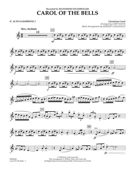 Carol Of The Bells - Eb Alto Saxophone 2