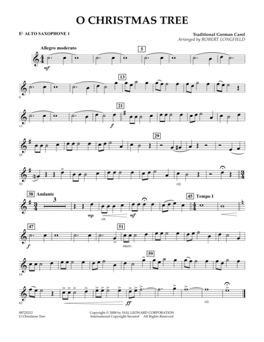 O Christmas Tree - Eb Alto Saxophone 1