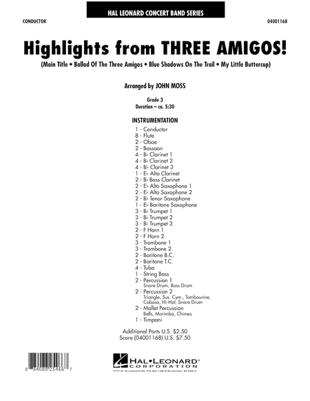Highlights from Three Amigos! - Full Score