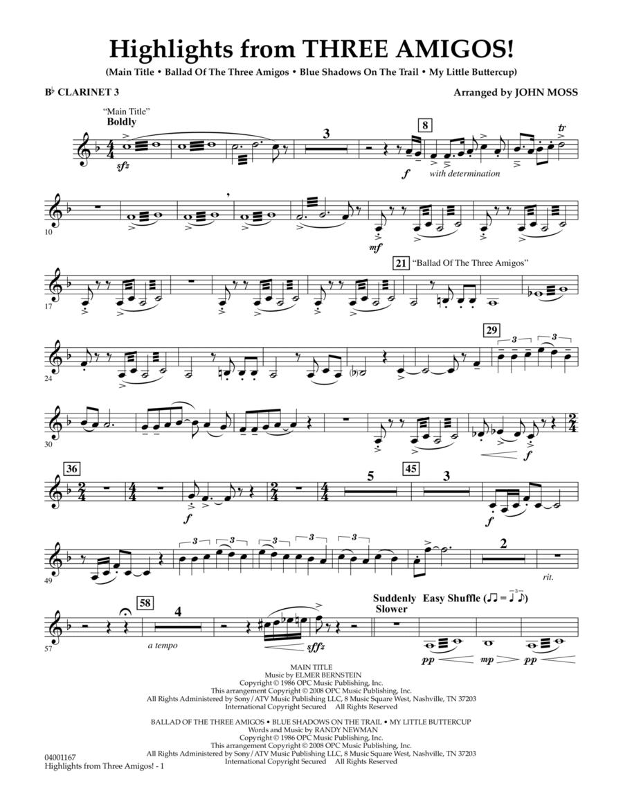 Highlights from Three Amigos! - Bb Clarinet 3
